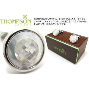THOMPSON トンプソン モザイクラウンドカフス(白蝶貝) (カフスボタン カフリンクス) ブランド|cufflink