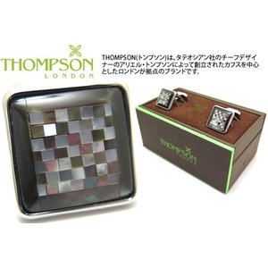 THOMPSON トンプソン モザイクスクエアカフス(黒蝶貝) (カフスボタン カフリンクス) ブランド|cufflink