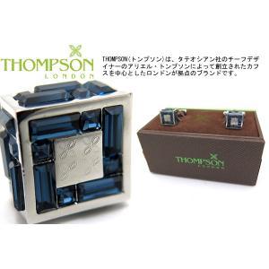THOMPSON トンプソン スワロフスキーキューブカフス(ダークブルー) (カフスボタン カフリンクス) ブランド|cufflink
