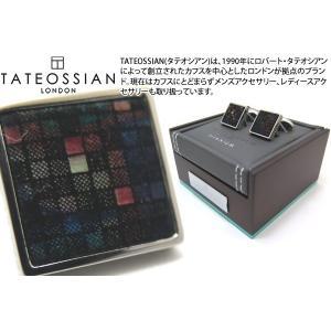 TATEOSSIAN タテオシアン チタニウムレザーカフス(ダークマルチカラーモザイク) (カフスボタン カフリンクス) ブランド|cufflink