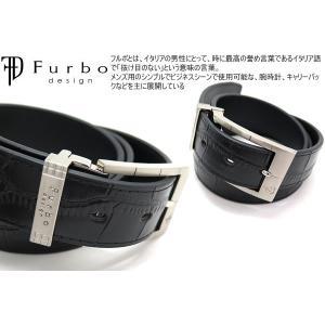 Furbo design フルボデザイン ラインバックル35mm クロコ 型押し レザー ベルト /メール便不可|cufflink