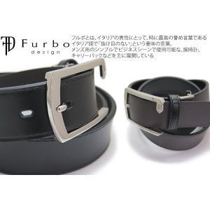 Furbo design フルボデザイン シンプルバックル 33mmスムースレザーベルト リバーシブル cufflink