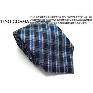 TINO COSMA ティノコズマ バイアスチェックシルクタイ(ブルー)(イタリア製) cufflink