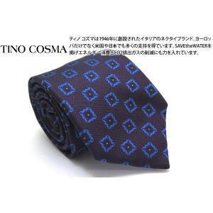 TINO COSMA ティノコズマ スクエア&フラワー ジオメトリックパターン シルクネクタイ(パープル)(イタリア製) cufflink