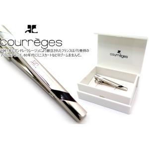 courreges クレージュ オブリークラインタイバー(ブラックホワイト) (ネクタイピン ネクタイクリップ)|cufflink