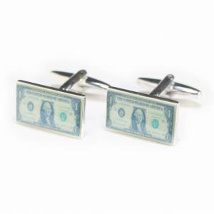 アメリカの1ドル札をデザインしたカフスボタン。 さり気ないデザインがお洒落ですよ 袖口から会話が盛り...