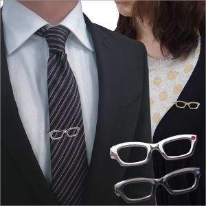 メール便送料無料 メガネ タイピン ストーンもキラリ眼鏡のネクタイピン|cuffsmania