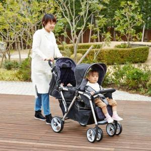 ベビーカー 二人乗り 縦型 Twin Pram ツインプラム ランダムドット 双子用 日本育児「代金引換不可」|cunabebe
