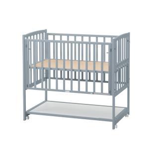 「受注生産商品」ベビーベッド国産 ハイタイプ ツーオープン グレー 収納棚付 cunabebe