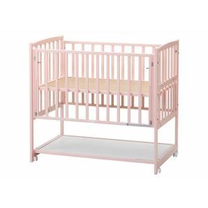 「受注生産商品」ベビーベッド国産 ハイタイプ ツーオープン ピンク 収納棚付 cunabebe