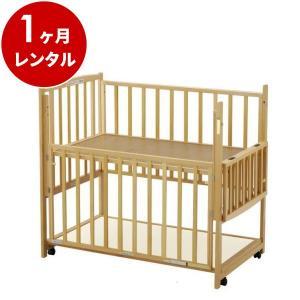 ベビーベッド レンタル1ヶ月:らくらくダブルドアー120 ナチュラル(マット別) 日本製 ハイタイプ|cunabebe
