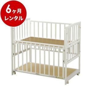 ベビーベッド レンタル6ヶ月:らくらくダブルドアー120 ホワイト(マット別) ハイタイプ 日本製 早トクぷらす30対象商品 cunabebe