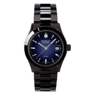 SWISS MILITARY スイスミリタリー ELEGANTBLACK エレガントブラック ML186 メンズ腕時計 ネイビー文字盤 ペアウォッチ cuore