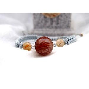 マクラメ編み天然石ブレスレット(レッドルチル)|cureprincess