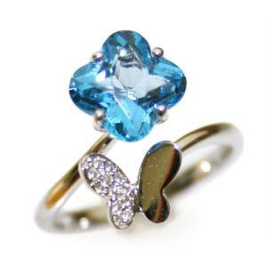 ブルートパーズフラワーダイヤモンドリング18K|curicolle