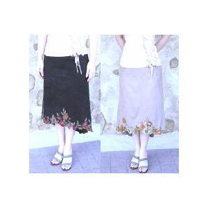 エレガント♪フラワー刺繍マーメイドスカート *ブラック*|curicolle