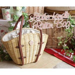 レザーハンドルラタンバッグ(バスケット型かごバッグ)[AinSoph・アインソフ・プレゼントにお勧め]【送料無料】|curicolle