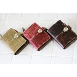 クロコ型押しクラッキングレザー・二つ折り財布[AinSoph・アインソフ・プレゼントにお勧め]【送料無料】 curicolle