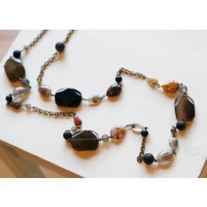 スクエア・オニキス・ロングネックレス[天然石&AntiqueBeadsシリーズ]|curicolle