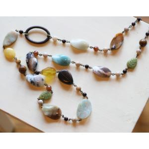 レモンストーン・ロングネックレス[天然石&AntiqueBeadsシリーズ]|curicolle