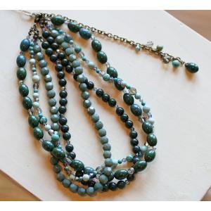 ターコイズ・4連ネックレス[天然石&AntiqueBeadsシリーズ]|curicolle