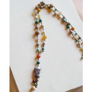 水晶・Yネックレス[天然石&AntiqueBeadsシリーズ]|curicolle