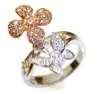 桜草と蝶ダイヤモンドリング18K|curicolle