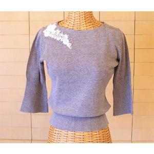 コード刺繍6分袖ニット -ライトグレイ-[Kei MACDONALD・ケイ マクドナルド]【送料無料】|curicolle