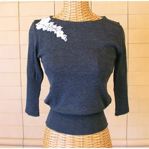 コード刺繍6分袖ニット -チャコールグレイ-[Kei MACDONALD・ケイ マクドナルド]【送料無料】|curicolle