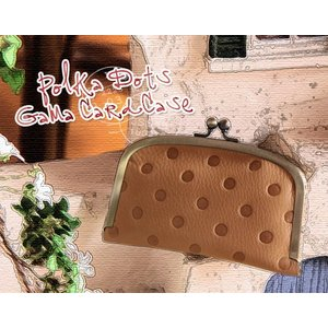 ポルカドット ガマグチカードケース(革製 カードケース ポイントカード) (Kanmi. カンミ プレゼントにお勧め)|curicolle