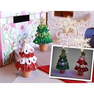 LED ミニキャンディツリー(クリスマスツリー Xmasオーナメント 飾り)(返品 交換 ギフト包装不可)|curicolle