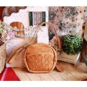 (zucchero filato ズッケロフィラート)メッシュレザー ラウンドポシェット (sarai レザー鞄 革製 プレゼントにおすすめ) curicolle