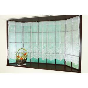出窓カーテン デザインレースカーテンの激安アウトレット ナチュラルフラワー 出窓用にデザインしたスト...