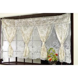 出窓カーテン リーフ柄プリント断熱レース4連セパレーツとスカラーカットレースの組合せ キルナ 出窓用にデザインした4連2重デザインカーテンのアウトレットの写真