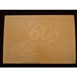 Cafe Racer カフェレーサー 60's オリジナルステッカー 白抜き オートバイに!|curtiscreek
