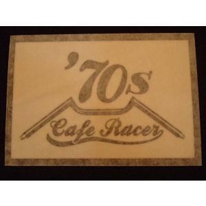 Cafe Racer カフェレーサー 70's オリジナルステッカー 黒抜き オートバイに!|curtiscreek