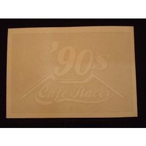 Cafe Racer カフェレーサー 90's オリジナルステッカー 白抜き オートバイに!|curtiscreek