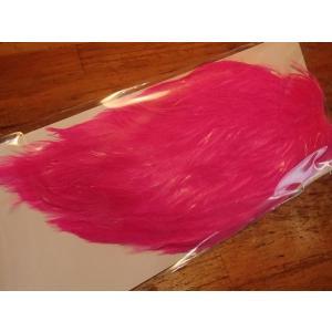 バスバグのタイイングに チャイニーズコックケープ ダイドカラー 蛍光ピンク バスバグのハックル、テールなどに curtiscreek