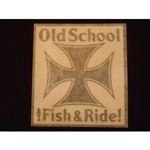 Old School Fish & Ride! オリジナルステッカー 黒抜き オートバイに!|curtiscreek