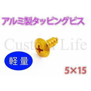 【5×15】軽量 アルミ製タッピングビス ゴールド ステップボード 外装 インナーカウル 5本セット メール便|customlife
