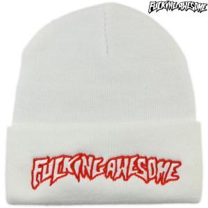 Fucking Awesome ファッキンオーサム ニット帽 ビーニー Outline Beanie ホワイト アウトライン スケートボード スケボー 帽子 ブランド メンズ レディース|cutback2