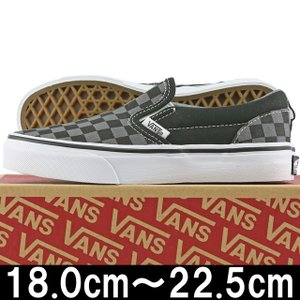 キッズ 靴 VANS バンズ Kids Classic Slip On Checkerboard Black/Pewter ヴァンズ スリッポン スニーカー シューズ 子供 チェッカー cutback2