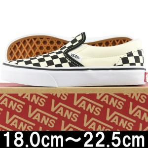 キッズ 靴 VANS バンズ Kids Classic Slip On Checkerboard Black/White ヴァンズ スリッポン スニーカー シューズ 子供 チェッカー cutback2