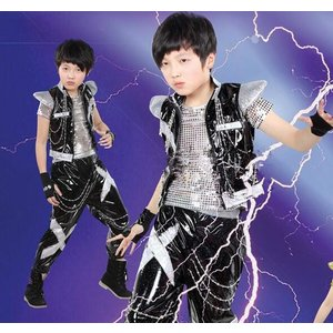 子供ドラム服 ヒップホップダンスウェア 子供ジ...の詳細画像1