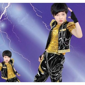 子供ドラム服 ヒップホップダンスウェア 子供ジ...の詳細画像2