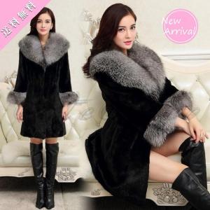 毛皮コート ファーコート レディース アウター ロング丈 大きいサイズ もこもこ 防寒 フェイクファー エレガント ファッション おしゃれ 送料無料の画像