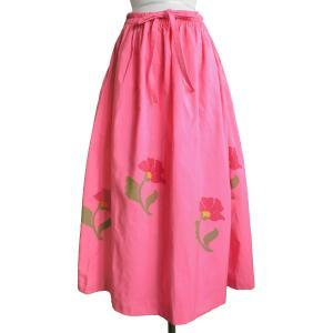 (アウトレット 特価)スカート ロングスカート 花柄 フリーサイズ ギャザースカート ミャンマー 伝統布 ロンジー アジアン衣料|cutemania