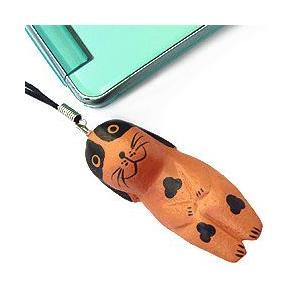 ストラップ 木彫り 動物(まだら犬)携帯ストラップ キーホルダー バッグチャーム 可愛い ギフト 記念品 アジア雑貨|cutemania