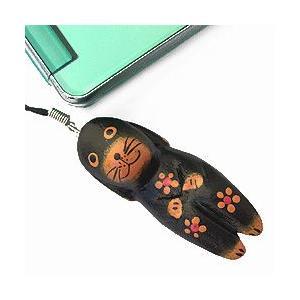 ストラップ 木彫り 動物(黒犬)携帯ストラップ キーホルダー バッグチャーム 可愛い ギフト 記念品 アジア雑貨|cutemania