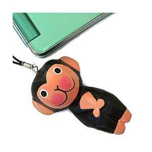 ストラップ 木彫り 動物(黒サル)携帯ストラップ キーホルダー バッグチャーム 可愛い ギフト 記念品 アジア雑貨|cutemania